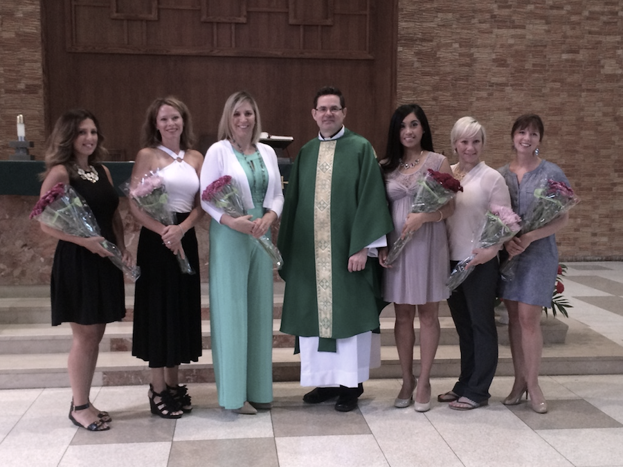 Our 2015-16 board members from left to right: Secretary Staci Lewanski, Treasurer Kristin McGrane, Director of Public Relations Caryn Talty, Moderator Fr. Mark Walter, President Tiffany Sales, Vice President Julie Cooper, Secretary Jamie Spirakes